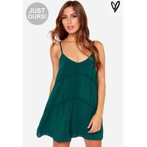 Lulu's Teal Mini Dress with Scoop Back Size Small
